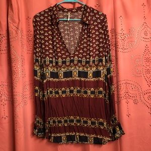 Free People Maroon Shirt Tunic (M)
